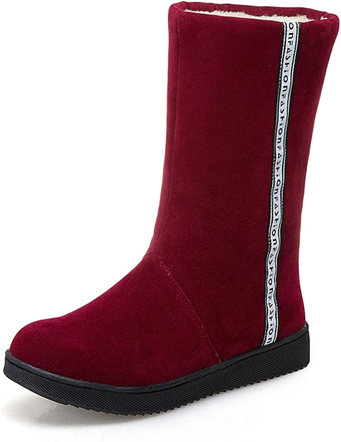 T-JULY Women's Slip On Mid Calf Boots shoes Add Fur Winter Boots Warm shoes Snow Boots Plus Size 31-41
