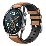 Huawei Watch GT 2018 Bluetooth SmartWatch,Ultra-Thin Longer Lasting Battery Life,Compatible with iPhone and Android (Steel (Leather Strap)) Contains SUNG-LL Screen Protector
