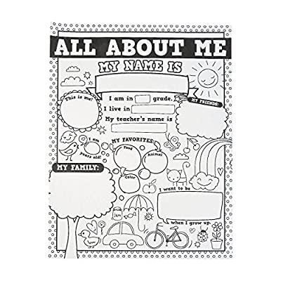 Fun Express All About Me Color Your Own Poster - 30 Pieces - Educational and Learning Activities for Kids from Oriental Trading Company