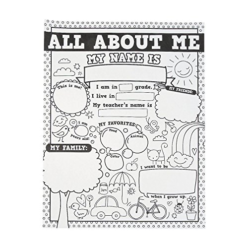 Fun Express All About Me Poster - 30 Color Your Own Posters - Educational and Learning Activities for Kids