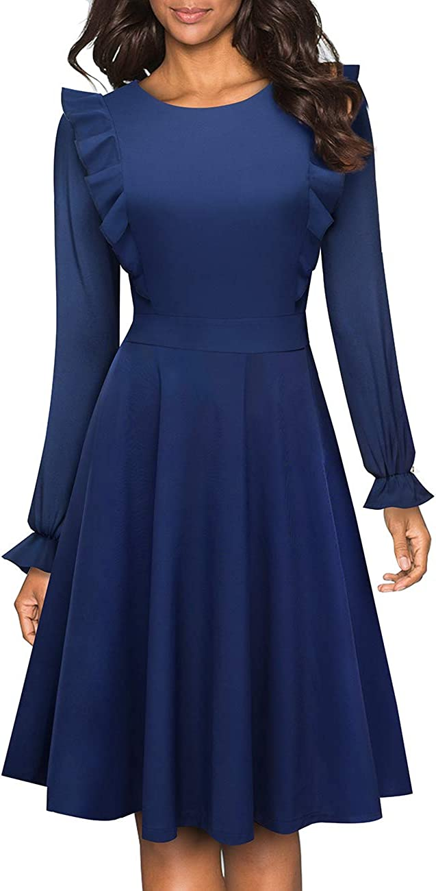 HOMEYEE Women's Vintage Ruffle Flared A Line Swing Casual Cocktail Party Dresses