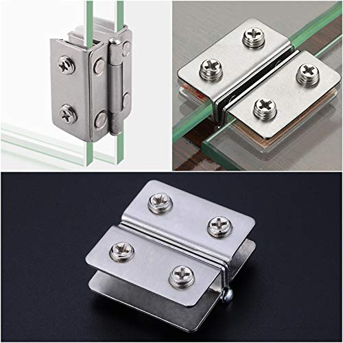 GXQ-AIJINGYU Hinges Glass Door Hinge Double Sided Clip Without Hole Stainless Steel Cabinet Cupboard Glass Clamps Clip For 4-9Mm 180 Degree