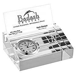 Badash - Crystal Business Card Holder with in Laid Clock 3.75 x 2.75