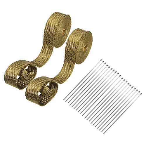 """Superfastracing 2 Roll 2"""" 50 Feet Lava Titanium Basalt Exhaust Heat Wrap Roll for Motorcycle Manifold Header Pipe Heat Wrap Tape with Stainless Ties"""
