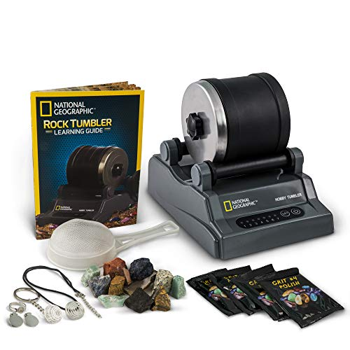 NATIONAL GEOGRAPHIC Hobby Rock Tumbler Kit - Includes Rough Gemstones, 4 Polishing Grits, Jewelry Fastenings, Learning Guide, Great Stem Science Kit