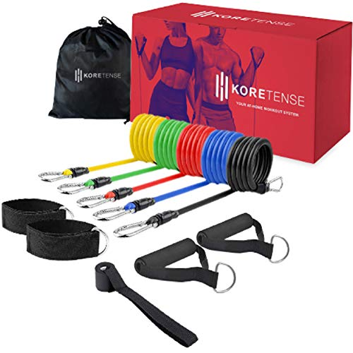 KoreHealth KoreTense Workout Resistance Bands With Door Anchor - Exercise Bands For Home Workout | Workout Band Set Of 5 (10 - 30lbs), Handles With Ankle Strap Resistance Band | Durable Weighted Bands