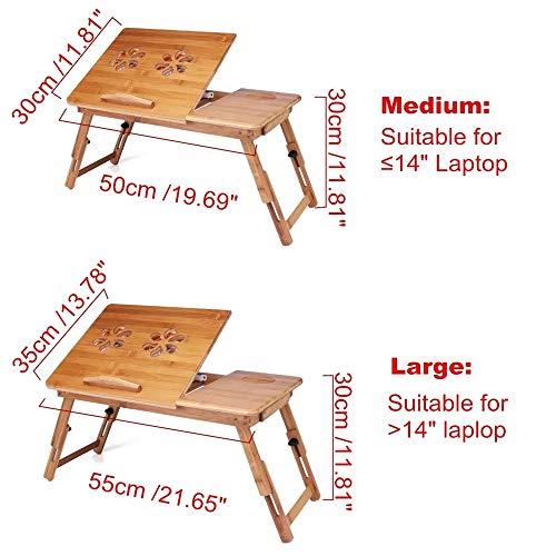 FHLH Mesa para Laptop Portátil Plegable portátil Lap Desk bambú Desayuno Mesa de Cama Ventilador de pie Escritorio Sofá Bandeja Ahorrar Espacio y Comodidad (Color : Wood, Size : S)