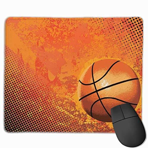 Alfombrilla de ratón Antideslizante para Juegos de Baloncesto Abstracto con Bordes cosidos, 18x22cm