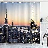DYCBNESS Duschvorhang,Blau-gelbes New York-Gebäude,Vorhang Waschbar Langhaltig Hochwertig Bad Vorhang Polyester Stoff Wasserdichtes Design,mit Haken 180x180cm