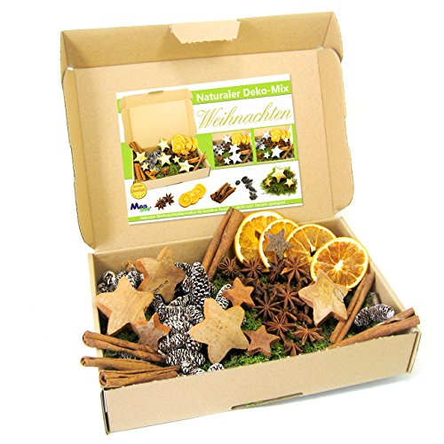 MGS SHOP Deko - Mix Weihnachten Bastelset kreative Idee Natur Dekoration mit Moos Anis Zimt Orangenscheibe Kokosstern (Natur)