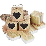 TsunNee - Caja de papel kraft para dulces, cajas de regalo de boda, caja de regalo con forma de corazón, cajas de papel rústico para dulces Natural 2