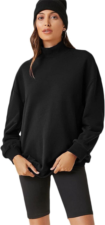 Verdusa Women's Basic Drop Shoulder Round Neck Oversized Pullover Top Sweatshirt