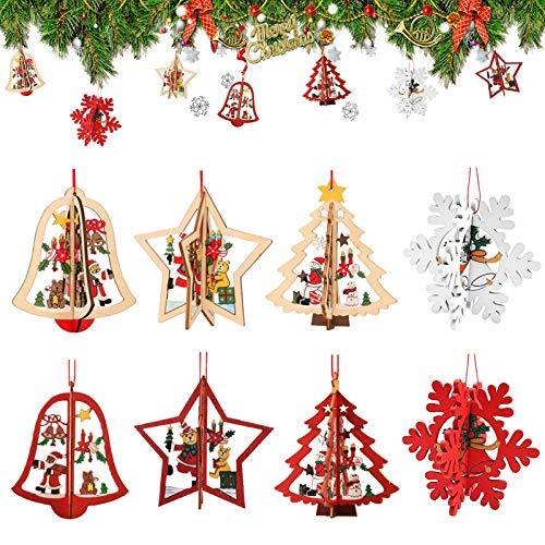 8 Stück Kleine Anhänger Holz Weihnachten,3D WeihnachtsbaumschmuckAnhänger Dekoration Holz,Weihnachtsbaum Deko Holz,Holz Weihnachtsdeko Anhänger,Ornamenten für Weihnachtsbaum,weihnachtsdeko basteln