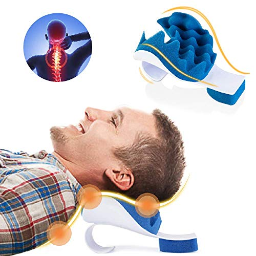 Chiropractic Pillow,Neck and Shoulder Pain Relief Support Relaxer Cervical Pillow Massage Traction Device to Help Ease Neck Pain and Shoulder Pain and Provide Relief by Easing Tension