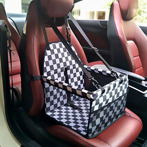 SUGOIDAN Pet Booster Seat Dog Cat Cage Comfort Travel Waterproof Foldable Safety Car Front or Rear Seats with Seat Belt Tether (Black-White)