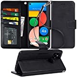 Arae Case for Google Pixel 4A 5G PU Leather Wallet Case Cover [Stand Feature] with Wrist Strap and [4-Slots] ID&Credit Cards Pocket for Google Pixel 4A 5G, 6.2 inch, Black