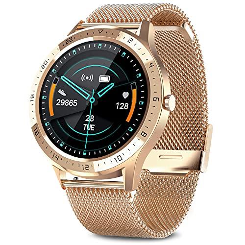 AIMIUVEI Smartwatch, Reloj Inteligente Impermeable 67 con Pantalla Táctil Completa, Pulsómetro, Monitor de Sueño, 7 Modos de Deportes, Reloj Deportivo Hombre Mujer para iOS y Android (Oro)