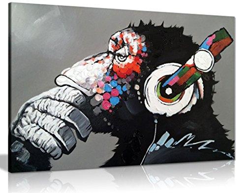 Leinwand-Kunstdruck, Motiv: cooler Affe mit DJ-Kopfhörern, Wandbild, A0 91x61cm (36x24in)