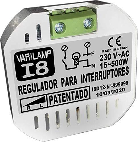 Inter 8. Regulador de luminosidad a INTERRUPTORES para incandescencia y halógenos (PATENTADO). Conexión a 2 hilos. 800W Máx.