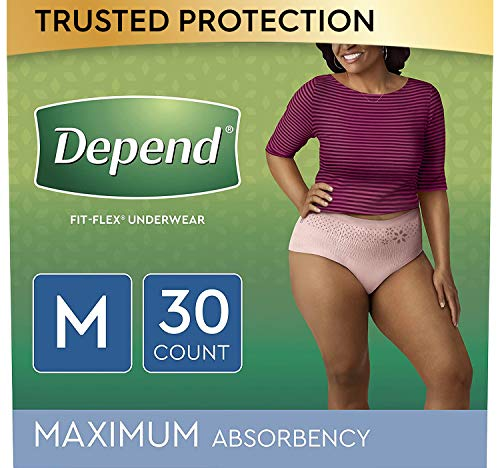 Depend FIT-FLEX Incontinence Underwear for Women, Disposable, Maximum Absorbency, Medium, Blush, 30 Count (Packaging May Vary)