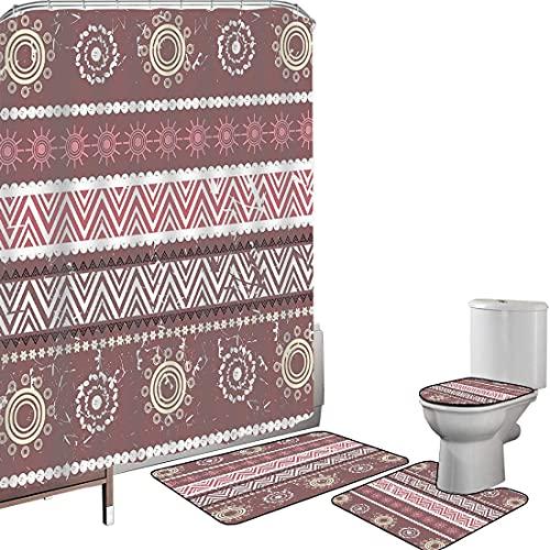 Juego de cortinas baño Accesorios baño alfombras Zambia Alfombrilla baño Alfombra contorno Cubierta del inodoro Antigüedad tradicional africana en tonos tierra con figuras de sol Patrón Boho,rosa amar