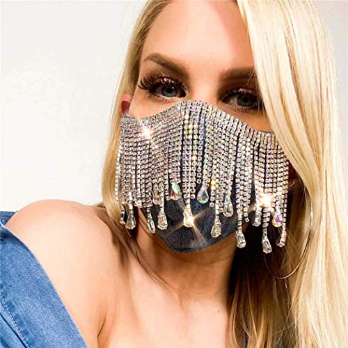 Urieo Sparkly Rhinestone Mask Black Bling Crystal Tassels Face Masks Nightclub Party Halloween Masquerade Mask Jewerly for Women and Girls