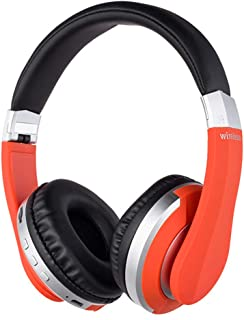 Wireless Headphones Over Ear Bluetooth Headphones Foldable Stereo Gaming Earphones Deep Bass with Microphone Support TF Card for PC/Cell Phones/TV,Orange