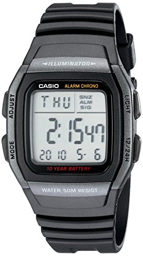 Casio Men's Classic Quartz Watch with Resin Strap, Black, 22 (Model: EAW-W-96H-1BV)