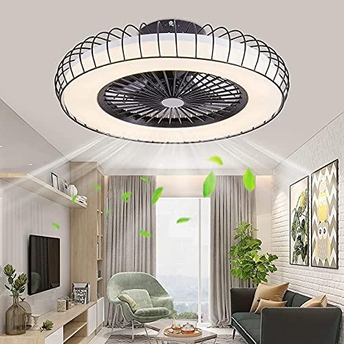 WHL 40W Ventilatore da Soffitto con Illuminazione, Luci A LED Plafoniera Moderna Invisible Mute Fan Dimmerabile con Telecomando per Soggiorno Camera da Letto Tavolo da Pranzo Lampada da Soffitto 50CM