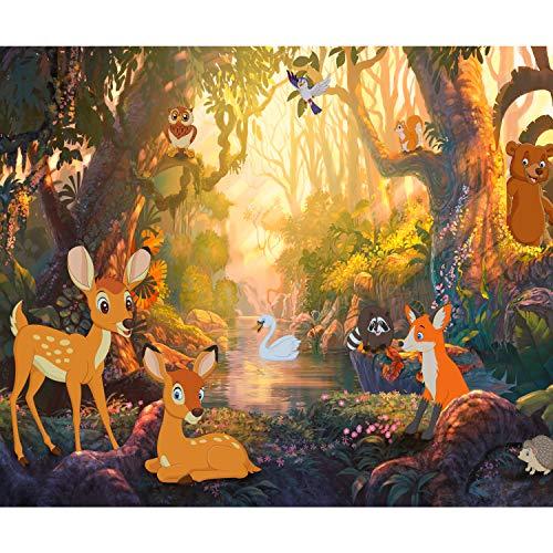 decomonkey Fototapete selbstklebend Kinderzimmer Wald Tiere 245x175 cm XL Selbstklebende Tapeten Wand Fototapeten Tapete Wandtapete klebend Klebefolie Schwäne Reh Baum Fabel