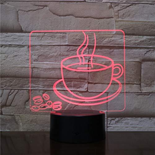 3D Optische Illusions-Lampen Kaffeetasse 7 Farben Touch-Schalter Led Nachtlicht Kinder Nachttischlampe Für Schlafzimmer Home Decoration Geburtstag Weihnachten Geschenk
