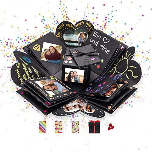 DYNOVIBE ® Kreative Geschenkbox – Überraschung Box, Explosionsbox, DIY Geschenk – Geschenkidee zum Selbstgestalten für Geburtstag,Hochzeit,Weihnachten,Valentinstag,Jahrestag,Antrag (Schwarz)