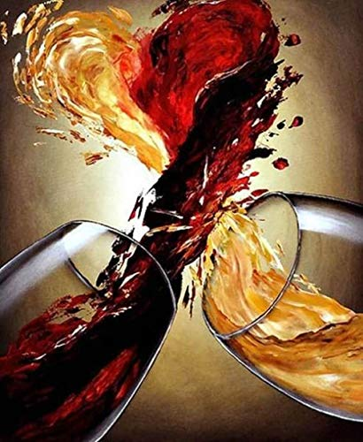 CHXFit Null Basis DIY Malerei nach Zahlen handgemalte Ölgemälde Mischung von Wein Färbung Wohnkultur handgemachte Geschenk-40x50cm