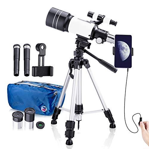 Telescopio Astronomico Bambini, Telescopio Rifrazione con 70mm Completamente Rivestito Lente, Telescopio Portatile con Treppiede in Alluminio Regolabile (50~110cm) e Adattatore Telefonico
