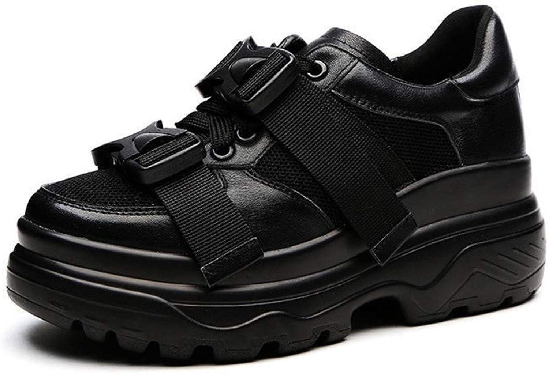 FUMAK Genuine Leather Mesh Women's Platform Chunky Sneakers