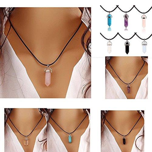 ILOVEDIY Chakra-Anhänger Halskette Rosenquarz Edelstein Herz Healing Reiki Hexagon Säulen Anhänger
