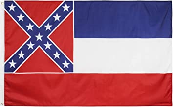 AXYRXWR Mississippi Official State Flag, 3 x 5ft Federal Flags Mississippi State Flag with Two Brass Grommets & Double Stitched Edges,Mississippi Flags, State Flag of Mississippi (Mississippi)