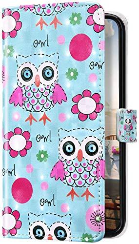 Uposao Kompatibel mit Samsung Galaxy S8 Plus Hülle Glitzer Bling 3D Bunt Marmor Leder Hülle Flip Schutzhülle Handyhülle Brieftasche Wallet Leder Tasche Case Magnet Ständer Kartenfach,Eule Blume