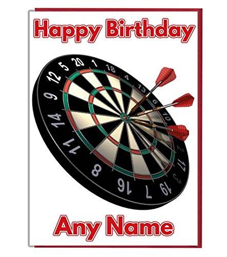 AK Giftshop Personalisierte Geburtstagskarte mit Dartscheiben-Motiv – fügen Sie einen Namen und Alter hinzu.
