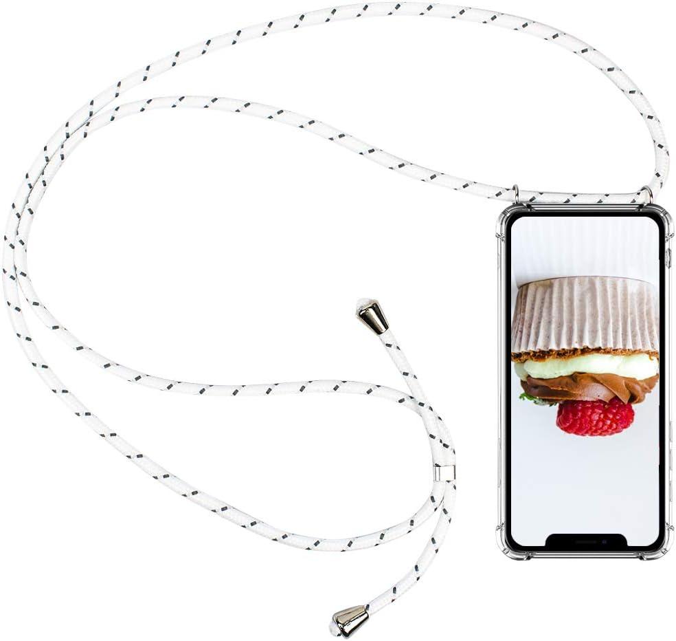 CLM-Tech Carcasa con Cuerda para Colgar Compatible con Apple iPhone 11 Pro (5.8 Pulgada) - Funda Silicona Transparente con Cordon para Llevar en el Cuello, Blanco Gris