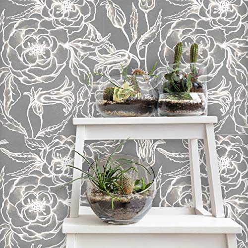 Flipside Neutral Gray Floral Removable Pre-Pasted Wallpaper - Each Roll is 18 ft. Long x 18 in. Wide - Safe for Walls - Easy to Apply & Extremely Easy to Remove