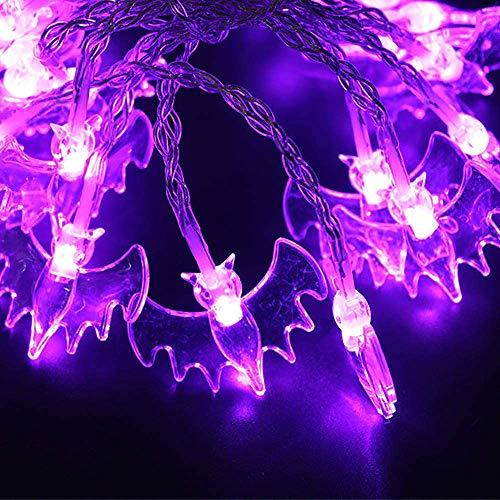 Pppby - Juego de 10 luces de cadena de luces LED para Halloween, calabazas, murciélagos, araña, funciona con pilas, para decoración de Halloween al aire libre, color morado y blanco