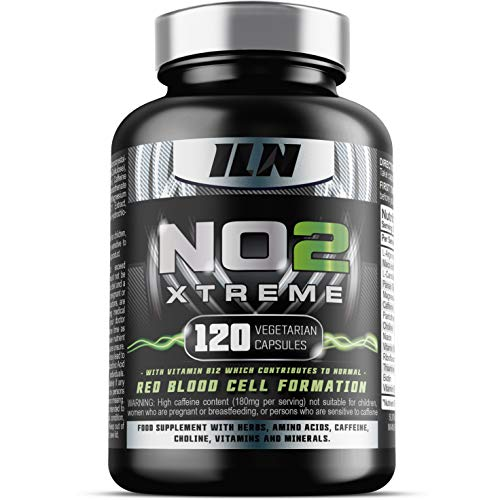 Iln, No2 Xtreme - Nitric Oxide Pre-Workout Supplement - Hardcore No Pre Workout - 120 Vegetarian Capsules