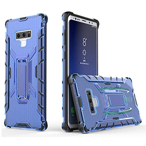 Phone Case for Samsung Galaxy Note 9 Cases with Metal Kickstand Stand Heavy Duty Hybrid Hard Rugged Shockproof Dual Layer Protective Cover Compatible Note9 S9 Women Men Girls Black+Blue