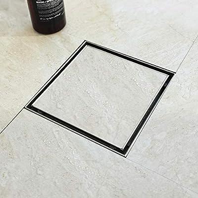 Bernkot Square Shower Drain 6 Inch Tile Inserted Grate Brushed Nickel 304 Stainless Steel Drain Hair Strainer Floor Center Drain Kit