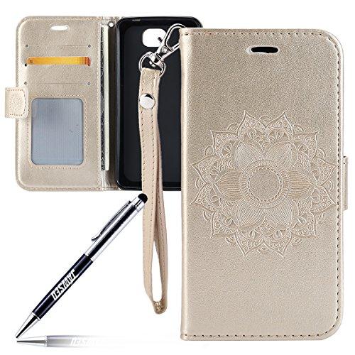 Kompatibel mit Huawei Y6 II Compact Hülle Tasche,JAWSEU Lederhülle für Huawei Y6 II Compact Handyhülle Wallet Hülle Flip Hülle Brieftasche,Mandala Blumen Muster PU Leder Tasche Flip Hülle Gold
