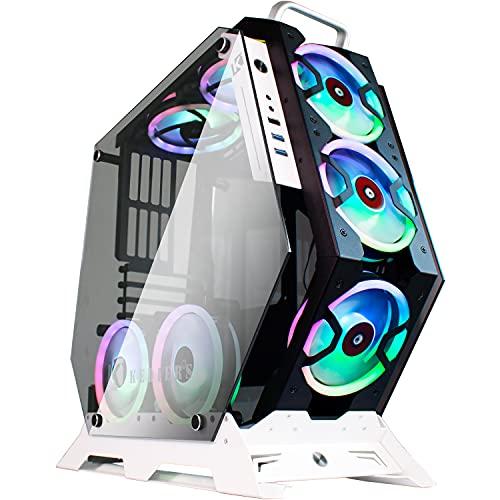 KEDIERS ATXオープンフレームパノラマビューゲーミングコンピュータケースPCケースミッドタワーケース、強...