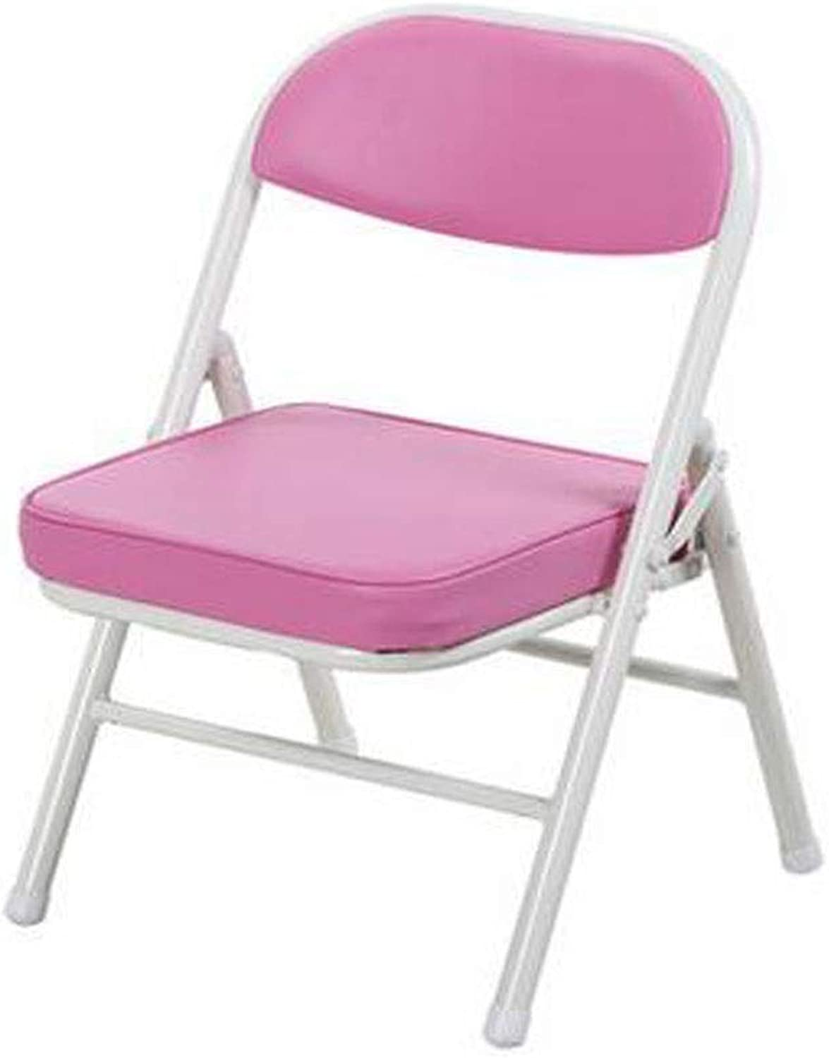 Folding Chair, color Portable Metal Chair, Suitable for Primary School Students to Learn to Write, Red (color   Pink, Size   52  33.5  30cm)
