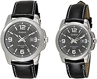 Casio His & Hers Black Dial Leather Band Couple Watch - MTP/LTP-1314L-8