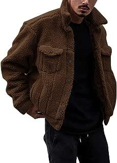 Sunward Coat for Men,Mens Casual Lamb Cashmere Loose Button Long Sleeve Keep Warm Coat